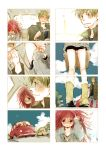 1girl akiko_(camphre) baggy_shorts basket blush car comic couple dandruff feeding flaky flippy food green_eyes green_hair happy_tree_friends height_difference kneepits long_hair messy_hair motor_vehicle personification red_eyes red_hair redhead short_hair silent_comic vehicle