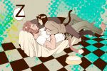 animal_ears barefoot beard black_hair bob_cut casual cat_ears cat_tail checkered checkered_floor couch facial_hair fate/zero fate_(series) kemonomimi_mode male multiple_boys red_hair redhead rider_(fate/zero) sleeping sugataku t-shirt tail waver_velvet