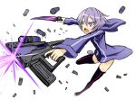 boots casing_ejection firing gia gun hoodie knife muzzle_flash open_mouth original purple_eyes purple_hair scope shell_casing short_hair solo thigh-highs thigh_boots thighhighs violet_eyes weapon
