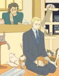 ahoge black_hair blonde_hair briefcase cardigan cat cat_tower cat_tower_(object) cup fate/zero fate_(series) flat_color kayneth_archibald_el-melloi lancer_(fate/zero) male multiple_boys necktie sapua seiza sitting teacup too_many too_many_cats