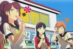 3girls :p amagi_yukiko bangs black_eyes black_hair blunt_bangs blush brain_freeze brown_eyes brown_hair building closed_eyes earrings eating eyes_closed flinch food hairband highres ice_cream jewelry kujikawa_rise long_hair multiple_girls official_art persona persona_4 popsicle red_hair redhead satonaka_chie scan school_uniform serafuku short_hair sky smile soejima_shigenori sogabe_shuuji tongue tongue_out twintails