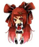 bow calne_ca chibi crustacean hair_bow hair_ribbon hatsune_miku highres insect isopod jewelry long_hair looking_at_viewer nail_polish necklace oniyama831 red_eyes red_hair redhead ribbon saikin_osen_-_bacterial_contamination_-_(vocaloid) sailor_collar school_uniform serafuku simple_background skirt skull_necklace solo twintails very_long_hair vocaloid