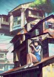 antennae bangs brown_eyes brown_hair camera chong_feigiap copyright_request highres house long_hair power_lines radio_antenna rooftop school_uniform shoes sitting sitting_on_roof sky solo towel tree tree_shade
