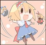 alice_margatroid black_legwear blonde_hair blush blush_stickers bow chibi doll food fruit hair_bow hairband hourai_doll lowres oinari_(tensaizoku) open_mouth outstretched_arms pantyhose popsicle shanghai_doll shield smile solo suika_bar touhou watermelon watermelon_bar