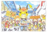 animal_costume animal_on_head banner city creature crowd denji_(pokemon) english lighthouse magnemite mikan_(pokemon) pikachu pokemon pokemon_(game) pokemon_center pokemon_dppt pokemon_gsc raichu sign stairs translated zenimaki