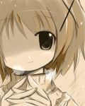 1girl hidamari_sketch looking_at_viewer lowres monochrome no_eye shichinose short_hair smile solo yuno