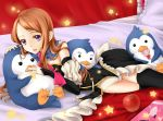 apple bird black_legwear brown_hair detached_sleeves diary food fruit highres long_hair looking_at_viewer lying mawaru_penguindrum nanairo on_side parted_lips penguin penguin_1-gou penguin_2-gou penguin_3-gou princess_of_the_crystal purple_eyes star takakura_himari thigh-highs thighhighs violet_eyes