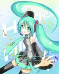 1girl detached_sleeves green_eyes green_hair hatsune_miku headphones long_hair lowres musical_note necktie open_mouth outstretched_arms shichinose skirt smile solo thigh-highs twintails very_long_hair vocaloid