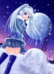 blue_eyes blue_hair boots coat dutch_angle full_moon gloves hatsune_miku headset looking_back megurine_luka moon night night_sky nishiura_gin open_mouth shovel skirt sky snow snowman solo takoluka thigh-highs thigh_boots thighhighs twintails vocaloid worktool yuki_miku