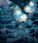 :d anglerfish bubble diving fins fish jellyfish lanturn light lugia mantyke marshtomp mudkip no_humans on_head open_mouth phione pokemoa pokemon pokemon_(creature) riding rock smile stingray swimming tail tentacles tentacool underwater water wings