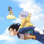 age_difference armor black_eyes black_hair carrying child cloud dragon_ball family father father_and_son flying kintoun multiple_boys purple_hair sky son son_gokuu son_goten spiked_hair trunks_(dragon_ball) ttk_(ehohmaki) vegeta waving