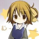 1girl blush_stickers brown_eyes brown_hair cat looking_at_viewer lowres original shichinose short_hair solo star