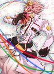 1boy alternate_color black_gloves blazblue gloves hakama happy_birthday jacket japanese_clothes multiple_belts pink_hair pink_jacket ragna_the_bloodedge red_eyes short_hair smile spiky_hair
