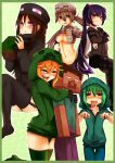 1boy 4girls 5girls :< at2. blush breasts cleavage closed_eyes creeparka creeper enderman eyes_closed ghast green_hair grey_hair hair_bobbles hair_ornament harem herobrine highres long_hair minecraft multiple_boys multiple_girls navel open_mouth personification purple_eyes red_eyes short_hair skeleton_(minecraft) spider_(minecraft) steve? thigh-highs thighhighs twintails very_long_hair violet_eyes zombie_(minecraft)