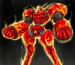 armor clenched_hands facial_hair fighting_stance fire fist gold highres ledjoker07 male manly muscle mustache persona persona_4 red rokuten_mao solo standing