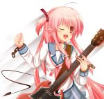 ;d angel_beats! chain chains electric_guitar guitar instrument kakeru_(arelgia) long_hair open_mouth pink_eyes pink_hair plectrum school_uniform serafuku smile solo sweat twintails two_side_up wink yui_(angel_beats!)