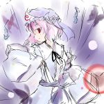 1girl danmaku hat pink_hair red_eyes saigyouji_yuyuko shichinose short_hair solo touhou triangular_headpiece