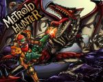 alternate_costume armor battle blonde_hair blue_eyes bowgun capcom claws deityofshadows dragon firing frowning gloves gun helmet metroid metroid_(creature) monster_hunter muzzle_flash parody rathalos red_eyes reverse_trap ridley samus_aran teeth tongue visor weapon