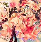 bat bat_wings blue_hair boots bow dress flower hair_in_mouth hat izayoi_sakuya kirero multiple_girls red_eyes remilia_scarlet short_hair sitting touhou wings wrist_cuffs