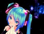 3d aqua_eyes aqua_hair bridal_gauntlets chibi_miku hatsune_miku hatsune_miku_(append) long_hair looking_at_viewer miku_append mikumikudance necktie oyuugi-p smile solo twintails vocaloid vocaloid_(tda-type_ver) vocaloid_append