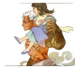 1girl age_difference asura asura's_wrath asura_(asura's_wrath) asuras_wrath father_and_daughter happy luke_mancini mithra_(asura's_wrath) mithra_(asuras_wrath) sandara shirtless