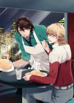 apron barnaby_brooks_jr belt blonde_hair brown_eyes brown_hair eating fried_rice glasses green_eyes jacket kaburagi_t_kotetsu ko-man multiple_boys red_jacket spoon studded_belt sweatdrop tiger_&_bunny window