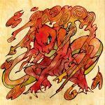 charmeleon fine_art_parody fire nihonga no_humans parody pokemon pokemon_(creature) pokemon_(game) pokemon_rgby shimanoko solo