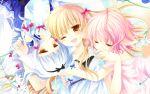 1920x1200 ;d absurdres animal_ears biting dog_ears hair_ribbon highres lily_(wanko) multiple_girls open_mouth ribbon sakurazawa_izumi smile tail touko_(wanko_to_lily) wallpaper wanko wanko_to_lily wink