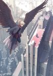 bird_wings black_legwear blonde_hair brown_eyes building cityscape dress flying from_above highres jacket landmark legs_folded looking_at_another multiple_girls new_york original pantyhose real_world_location rockefeller_center rooftop scarf seo_tatsuya shoes skirt smoke standing tied_hair wings