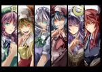 6girls alternate_hair_color aqua_eyes ascot bat_wings beret black_vest blue_dress blue_hair book braid breasts column_lineup crescent dress dress_shirt embodiment_of_scarlet_devil fangs finger_to_mouth fist flandre_scarlet green_eyes grin hair_ribbon hat head_wings headwings hong_meiling izayoi_sakuya knife koakuma letterboxed long_hair maid maid_headdress multiple_girls necktie open_book open_mouth patchouli_knowledge purple_eyes purple_hair reading red_bows red_eyes red_hair remilia_scarlet ribbon shirt short_hair silver_hair slit_pupils smile star the_embodiment_of_scarlet_devil touhou twin_braids utarion vampire vest violet_eyes violet_hair white_shirt wings wink