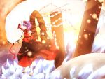 bad_id fangs hairband highres kuroyume_(dark495) mirror mishaguji onbashira profile purple_hair red_eyes sakazuki sandals shimenawa short_hair skirt smile snake solo touhou white_snake yasaka_kanako