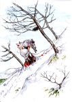 animal_ears bare_tree blood goat highres horns inubashiri_momiji kobushi landscape snow solo tail touhou traditional_media tree watercolor_(medium) wolf_ears