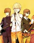alternate_costume band belt blonde_hair brown_eyes brown_hair cross cross_necklace earrings facial_hair fate/zero fate_(series) goatee guitar instrument jewelry kotomine_kirei male microphone microphone_stand multiple_boys priest sunglasses t-shirt tohsaka_tokiomi toosaka_tokiomi toriatte yellow_background
