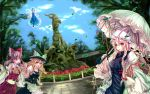 apron ascot black_legwear blonde_hair blue_dress blue_hair blue_sky blurry blush bow brown_eyes brown_hair cirno depth_of_field detached_sleeves dress fisheye flower_field flying goat hair_bow hair_ribbon hair_tubes hakurei_reimu hand_holding hat hat_ribbon highres holding_hands jianren kirisame_marisa long_hair miko multiple_girls open_mouth parasol park ribbon shirt short_hair skirt skirt_set sky smile statue tabard touhou tree umbrella white_dress wings witch witch_hat yakumo_yukari yellow_eyes