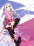 bakemonogatari black_legwear boxcutter cosplay eraser fork highres idolmaster long_hair monogatari_(series) necktie parody ruler school_uniform scissors senjougahara_hitagi senjougahara_hitagi_(cosplay) shijou_takane shotarou silver_hair solo stapler stationery tape thigh-highs thighhighs