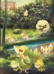 deerling grass litwick minccino munna nature no_humans petilil pokemon pokemon_(game) pokemon_bw river sewaddle shiny_pokemon snivy tree whimsicott yuurakusei