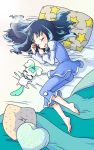1girl barefoot bed blanket blue_hair blush closed_eyes coffret_(heartcatch_precure!) female heartcatch_precure! kurumi_erika long_hair lying night_clothes on_side pillow precure ryun sleeping smile star