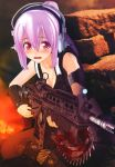 absurdres blood blush cosplay gears_of_war gun headphones highres lancer_(weapon) nail_polish nitroplus purple_hair red_eyes super_sonico weapon
