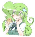 bread eating food green_eyes green_hair hair_ornament hair_pin hairclip long_hair lowres mac macintosh macloid macne_nana melon_bread nail_polish school_uniform taiyaki wagashi yahoro