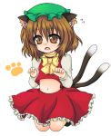 bad_id brown_eyes brown_hair c6mystic cat_ears cat_tail chen earrings fang hat jewelry midriff multiple_tails paw_print short_hair tail touhou