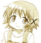 hidamari_sketch isao_(bb) monochrome short_hair smile yuno