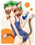 akishisu_(air_balance) animal_ears brown_hair cat_ears cat_tail chen earrings hat highres jewelry multiple_tails one-piece_swimsuit school_swimsuit short_hair swimsuit tail touhou water_gun