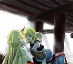arm_warmers blonde_hair daken_(artist) green_eyes horn horns hoshiguma_yuugi jingo_kajiki long_hair mizuhashi_parsee multiple_girls pointy_ears scarf short_hair touhou yuri