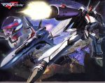 angry city firing flying gun helmet highres luca_angeloni macross macross_frontier mecha mikhail_buran official_art ozma_lee s.m.s. saotome_alto space vf-25 weapon