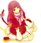 blue_hair bow dress frederica_bernkastel kneehighs long_hair looking_up sitting tail umineko_no_naku_koro_ni violet_eyes