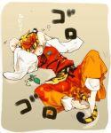 barefoot blush catnip daken_(artist) hair_ornament jingo_kajiki kemonomimi_mode lying matatabi multicolored_hair on_back on_floor paw_pose short_hair solo tail tiger_ears tiger_tail toramaru_shou touhou two-tone_hair