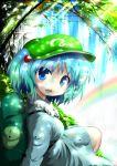 blue_eyes blue_hair gradient_hair green_hair hair_bobbles hair_ornament hat inyu inyucchi kawashiro_nitori multicolored_hair rainbow short_hair touhou twintails water waterfall
