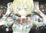 bell blonde_hair cage candy cross crucifix crystal green_eyes jewelry original short_hair solo tears watch wristwatch