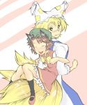 bad_id blonde_hair brown_hair cat_ears chen fox_tail hat multiple_tails short_hair tail teeburu touhou yakumo_ran