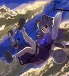 basket blonde_hair cloud clouds flying grey_hair hair_ornament highres jewelry mouse mouse_ears mouse_tail nazrin pendant polearm red_eyes shape shawl shope short_hair sky spear tail toramaru_shou touhou weapon yellow_eyes